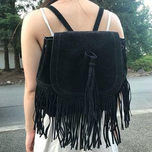 Black suede fringe backpack